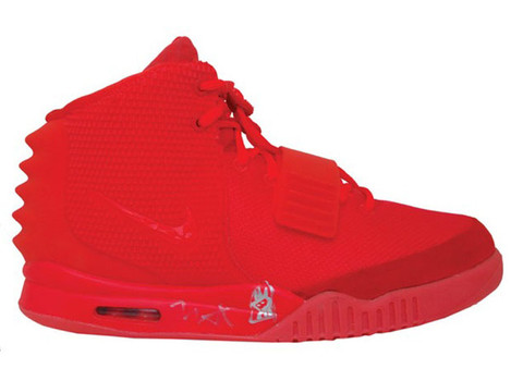 autographed red october yeezy
